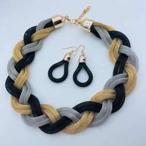 Braided Gold/Silver/Black Necklace and Earring Set